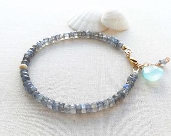 Labradorite and Aqua Chalcedony Bracelet, Labradorite Gemstone Bracelet, Gold Gemstone Bracelet, Grey Aqua Bracelet, Grey Gemstone Bracelet