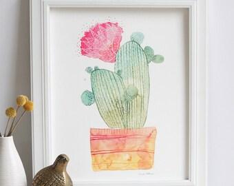 Cactus Flowering Watercolor Painting Art Print
