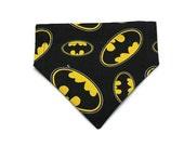 Batman Cat Bandana, Small Dog Reversible Bandana, Bruce Wayne, Gift for Cat, Handmade in Canada, Black, Yellow, White, Polka Dots, Bat Cat
