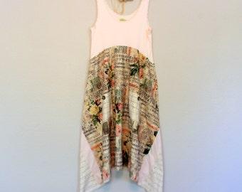 Sweet Shabby Boho Dress / Upcycled Women's Clothing / Beach Cottage Clothes / Size Medium Large Unique Artsy Tunic Dress