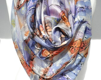 Hand Painted Scarf Square Silk Scarf Art to wear Handmade Unique Birthday gift Silk Painting Silk Shawl. Bridesmaids Gift 35x35in Ready2Ship