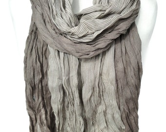 Man Scarf. Beige Crinkled Striped Scarf. Elastic Pashmina. Smooth Soft. Birthday Gift for Him. Men Scarves. Men Fashion 27x74in. Ready2Ship