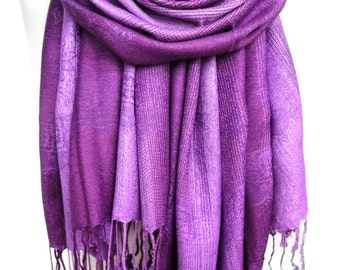 Purple Scarf Shawl. Birthday Gift for Her. Soft Smooth Winter Shawl, Mauve Pashmina. Woman Violet scarf. Sister Gift. 27x71in Ready2Ship