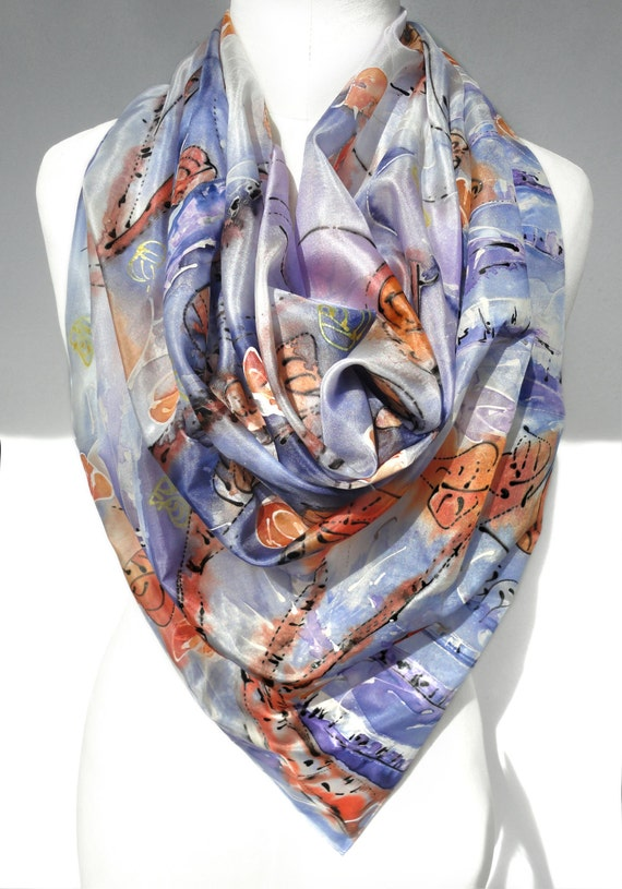 painted scarf square silk scarf to wear handmade