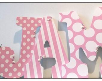 Pink nursery. Pink. Baby Girl. Nursery Decor. Wood Nursery Letters. Pink and Grey. Damask. Chevron. Girls Nursery Letters. Vintage Chic.
