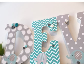 Elephant Nursery. Aqua. Gray. Turquoise. Wood Letters. Baby Boy. Nursery decor. Name letters. Chevron. Nursery Ideas. Baby. Grey. Elephants.