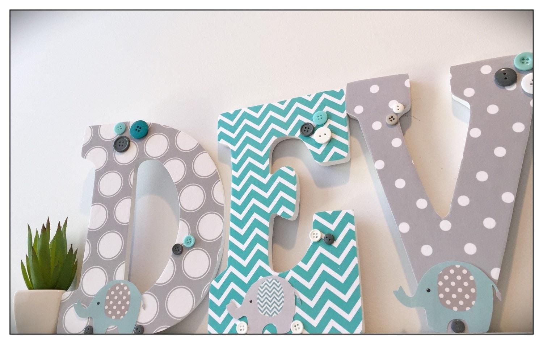 Elephant Nursery. Aqua. Gray. Turquoise. Wood Letters. Baby