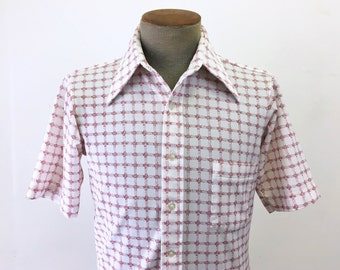 """1970s """"ManKnit"""" Manhattan Polyester Shirt Vintage Mens Red & White Polyester Short Sleeve Disco Era Men's Button Up Shirt - Size SMALL"""