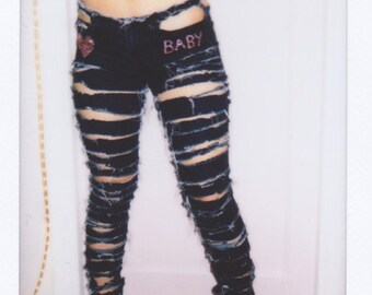 Slashed ripped BABY blingy jeans