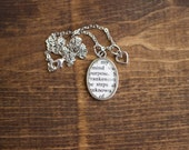 Mary Shelly's Frankenstein Victorian Literature Antiqued Bronze Book Page Necklace