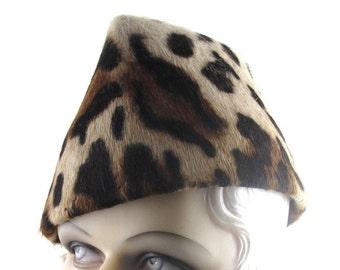 Womens Hat Black Beige Fur Felt Animal Print Long Hair Stove Pipe Handmade Hat Ascot Races Derby Cloche Art Deco Custom Made for Each Client