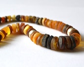 Amber Necklace Orange Brown Rustic Boho Earth Toned Necklace Genuine Amber Silver Statement OOAK Necklace