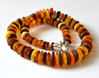 Large Amber Bead Necklace, Amber Beaded Necklace, Natural Baltic Amber Beads, Natural Amber Necklace, Amber Jewelry