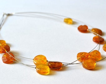Amber Necklace Gift For Her Organic Amber Jewelry