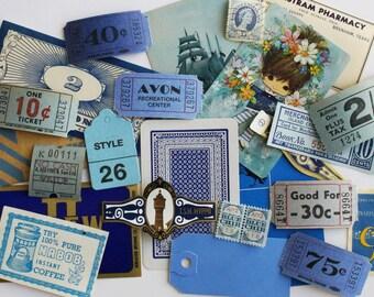 25 Piece Mini Blue Vintage Paper Ephemera Pack - Small Blue Inspiration Kit - Tickets, Cards, Coupons - Small Paper Ephemera - Embellishment