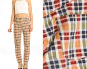Vintage Checkered Pants Striped Cigarette Soft Denim Pants Trousers Tartan Pants High Waisted Jeans 90s Club Kid Womens Size Small to Medium