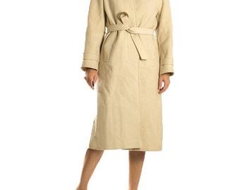 Vintage Cream White Midi Wool Coat 1970s Retro Beige Cream Coat / Winter Coat Elegant Classic Wrap Button Coat / Women's Size Small Medium