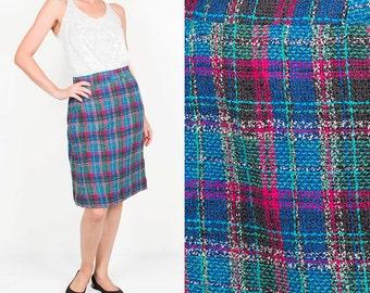 Vintage Tartan Midi Skirt / Turquoise Pink Striped Skirt / High Waist Elegant Wool Pencil Skirt / Colorful Winter Skirt  Size Small Medium