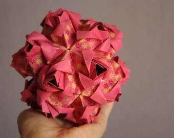 Miniature Rose Ball - Handmade Origami - Wedding Gift - Gift For Couple - Paper sculpture - Home decor -Floral Arrangement- Pink Paper Roses