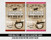 WESTERN VALENTINE CARD (printable files) Personalized Cowboy or Cowgirl with Photo - Print Your Own 4x6 Valentine's Day Cards