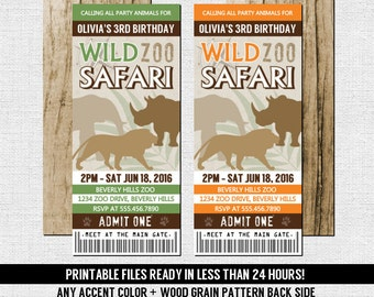 ZOO TICKET INVITATIONS Birthday Safari Party - Any Accent Color, Any Age - (print your own) Personalized Printable Files Jungle Animal