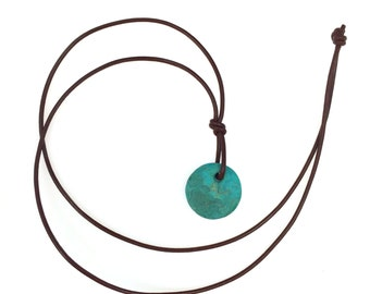 Gem Silica Chrysocolla Disc on Chocolate leather Necklace
