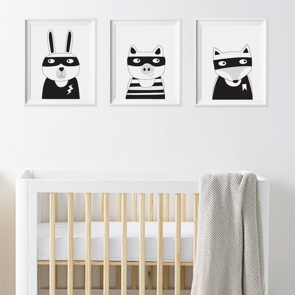 Black And White Nursery Wall Decor : Nursery decor wall art kids room by