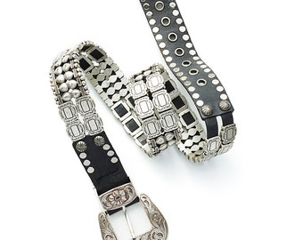 incredible VINTAGE 70's/80's French leather belt with heavy silver studding hardware