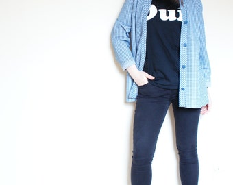 Vintage Blue and White Hounds Tooth Cardigan Coat