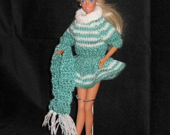 Aqua Hand-knit Fashion Doll 4-piece Sweater Set