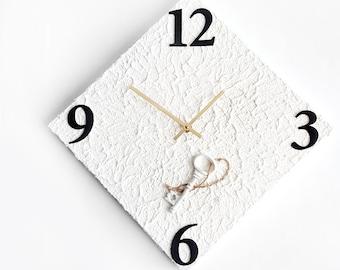 Iron Key White Minimalistic Wall Clock - Acrylic Media and Wood - Gold Hands