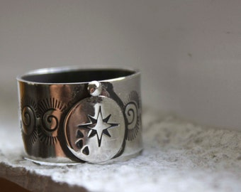 Milky way, sterling silver galaxy ring