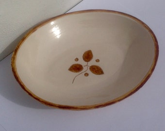 Handmade Pottery Bowl with Leaf and Berry detail - oval shaped bowl - Wedding Gift Made in UK