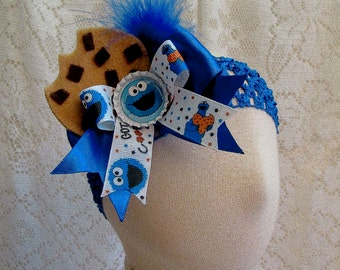 Any Size Cookie Monster Headband, Cookie Monster Halloween Costume Accessory, Cookie Monster Birthday Headband, 1st Birthday, Ready to Ship!