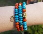 Buddha Bracelet Set, Om Bracelet Set, Blue Beaded Bracelet, Boho Beaded Bracelet Set, Gift for Teen Girl, Wood Bracelet Set, Bohemian