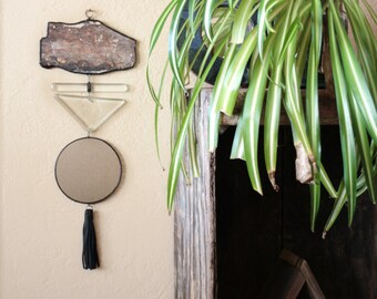 Geometric Wall Hanging with fused glass, raw cut agate, mirror, and black leather tassel