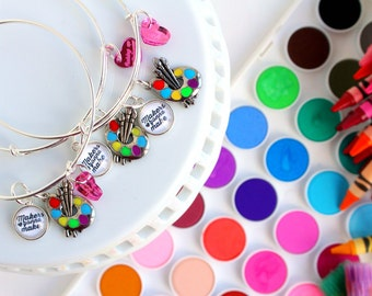 makers gonna make painters artists stackable bangle bracelet - wedding bridesmaid jewelry - wedding party gifts