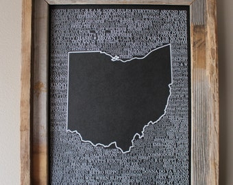 Brews of Ohio Word Map (Black) - Unframed