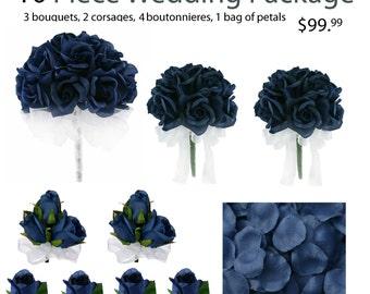 10 Piece Wedding Package - Silk Wedding Flowers - Bridal Bouquets - Navy Blue Wedding Bouquets