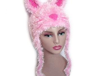 Pink Fluffy Bunny Hat - Crochet Rabbit Beanie - Womens Pink Animal Ears Hat - Custom Size Rabbit Hat - Bunny Rabbit Costume - Kawaii Hat