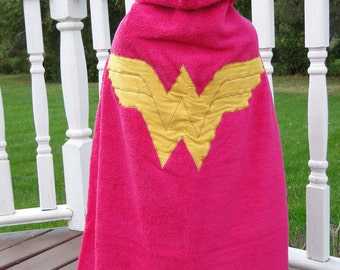 NEW! Wonder Woman Hooded Towel for  Beach or Bath - Made to Order