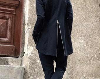 NEW Collection Black  Zipper Blazer / Spring Summer Coat / Extravagant Asymmetrical Zipper Blazer /Extra Long Sleeves by Aakasha A08371