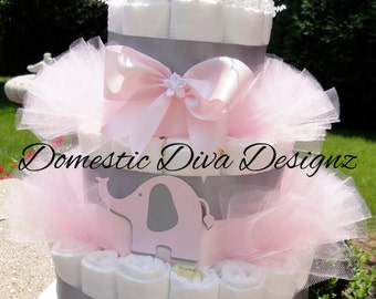 Diaper Cake - Light Pink & Gray Elegant Elephant Baby Girl Baby Shower Diaper Cake Centerpiece