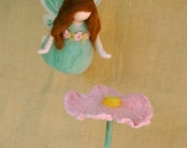 Mint Fairy  needle felted girl mobile: Butterfly  fairy with flower