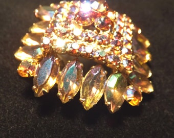 AB Rhinestone Pyramid Colorful Vintage Brooch Pin and Pendant Converter