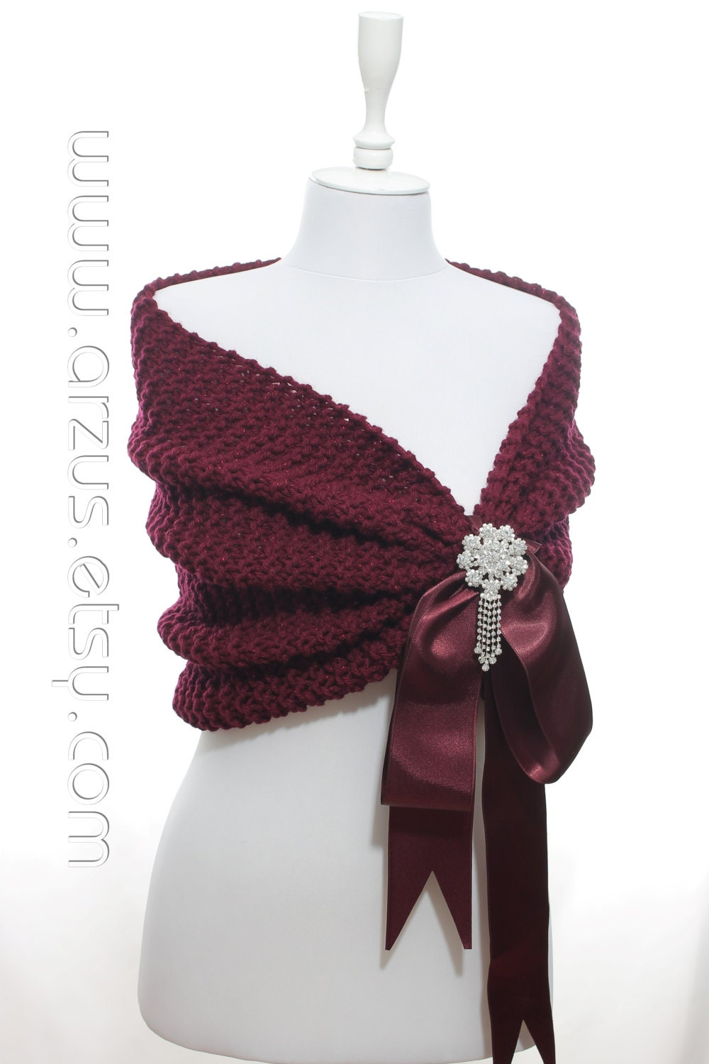 Wedding Shawl Bridal Shawl Bridal Wedding Stole Burgundy