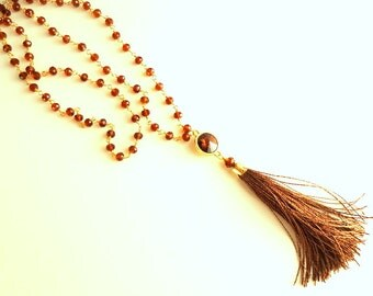 Tassel necklace, Swarovski necklace, Cognac Brown necklace, Crystal necklace, Smoked Topaz necklace, Rosary necklace, wire wrapped necklace