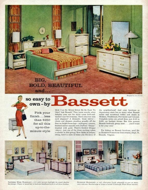 Bassett Furniture Ad 1950 S Italian Golden Bisque Bedroom