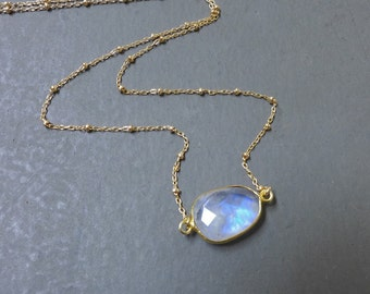 Gold Moonstone Necklace, Rainbow Moonstone Necklace, Moonstone Pendant, Satellite Chain