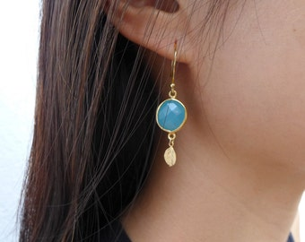Aqua Chalcedony Earrings, Chalcedony Jewelry, Mint Earrings, Gold Leaf Earrings
